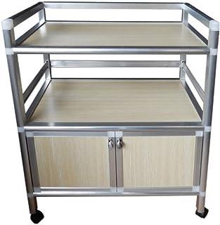 JD Chariot à tablettes, Alliage d'aluminium avec Porte avec tiroir, Rangement Multicouche, étagère de Salon, Armoire de Cu...