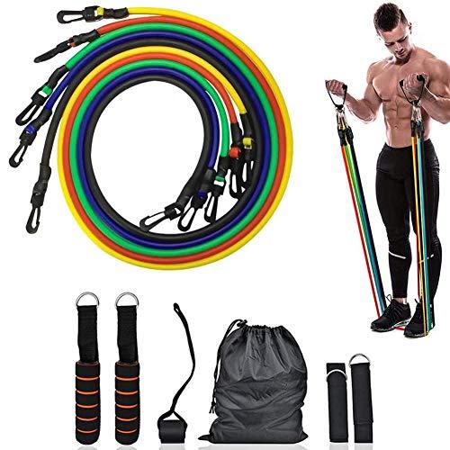 WASAGA Widerstandsbänder eingestellt, 11 Stück Frauen Männer Gummibänder Fitnessbänder Brust Expander Seil Elastische Bänder Muscle Exerciser Übungsbänder für das Heim-Fitnessstudio