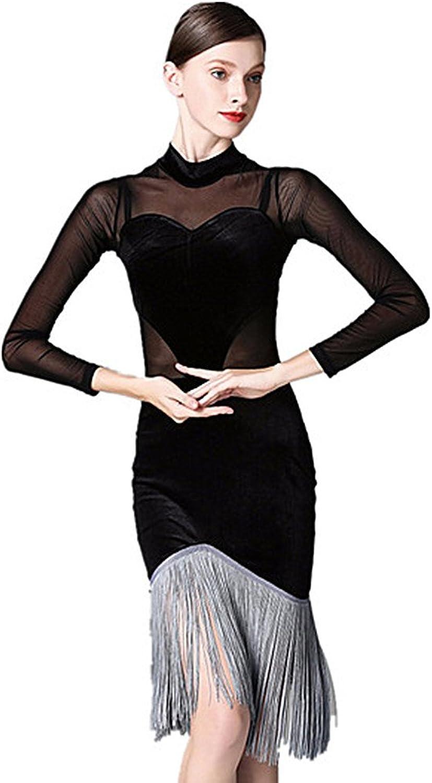 TALENT PRO Long Sleeves Tassel Latin Rhythm Ballroom Carmen Samba Salsa Fringe Tango Cha Cha Dance Dress