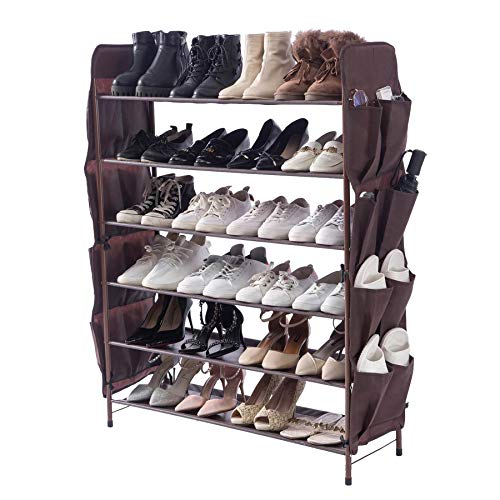 UDEAR Zapatero Independiente, 6 Capas con 8 Bolsillos Laterales para Zapatos, Ancho 80 cm, marrón
