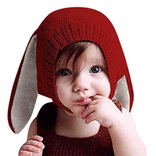 Tuopuda® Babymütze Winter Mädchen Jungen Wintermütze mit Ohren Kinder Mütze Strick Hut Warm