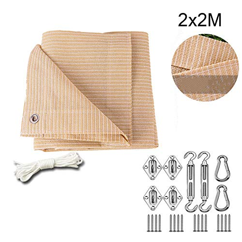 BCLGCF Sun Shade Sails Rectangle, 185 GSM Thicker Outdoor Shade Block 90% UV Keep Cool for Deck, Patio, Pergola, Backyard Outdoor,2x2M