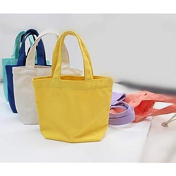 CamKpell Bolsa - Bolsas de Lona de algodón Bolsas de Compras Reutilizables Bolsas de Mano en Blanco Bolsa de Lona portátil de Color sólido Bolsa de Almacenamiento - Blanco: Amazon.es: Hogar