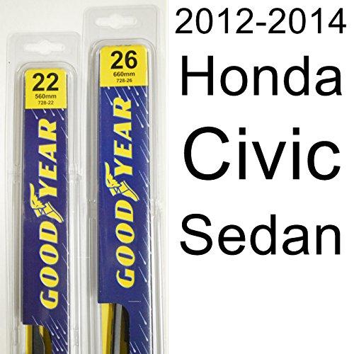 """Honda Civic Sedan (2012-2014) Wiper Blade Kit - Set Includes 26"""" (Driver Side), 22"""" (Passenger Side) (2 Blades Total)"""