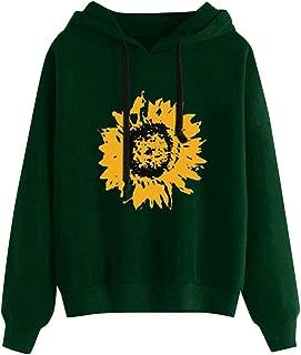 Loosebee◕‿◕ Women's Winter Hoodie Sweatshirt Sunflower Print Long Sleeve Hooded Pullover Tops Casual Loose Blouse