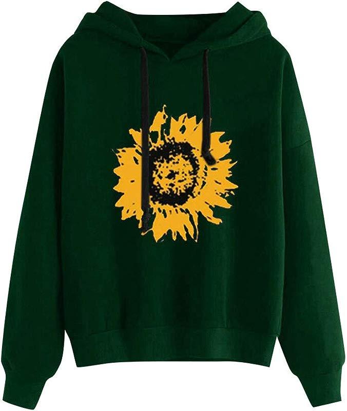 Redacel Womens Sunflower Print Long Sleeve Hoodie Sweatshirt Pullover Tops Blouse