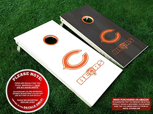 Chicago Bears Cornhole Decals | COLOR CHOICE | Six (6) Vinyl Decals for Lawn Games Board Building and Decorating | Decal Sticker Hub