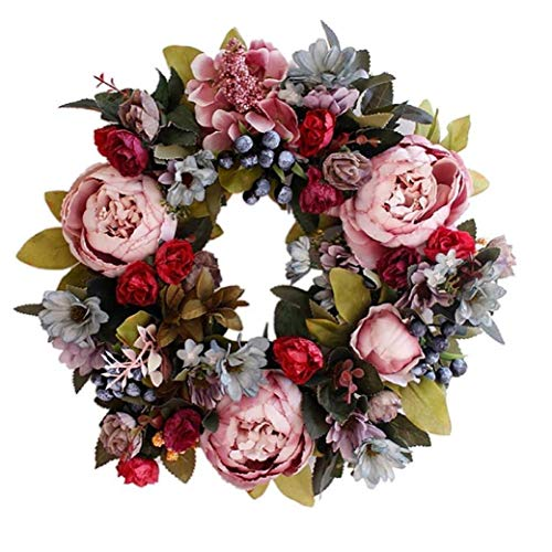 13 Inch Peony Flower Garland Handmade Garland Artificial Artificial Garland Wall Decoration Ornaments Candle Holder Door Wall Wedding Party Home Decor 1PC