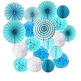 19 Pompones Azul Decoracion Bautizo Niño, pompones de papel de seda, abanico y...