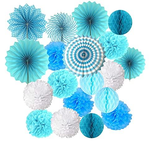 19 Pompones Azul Decoracion Bautizo Niño, pompones de papel de seda, abanico y bolas de panal, Decoración Fiesta de Bienvenida de Bebe