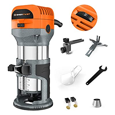 """Enertwist Compact Router Tool, 7.0-Amp 1.25HP Soft Start Variable Speed Wood Router Kit w/Fixed Base, 1/4"""" & 3/8"""" Collets, Edge Guide, Roller Guide, Dust Hood, Replacement Brush Set, ET-RT-710S"""