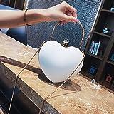 MEIDI Home Love Heart Shaped Dinner Clutch Messengerbagwith 120cm Schultergurt (Weiß) Damen