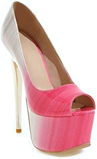 Fish Mouth Platform High Heels For Banquet Wedding Dress Daily (Color : Pink, Size : 36)