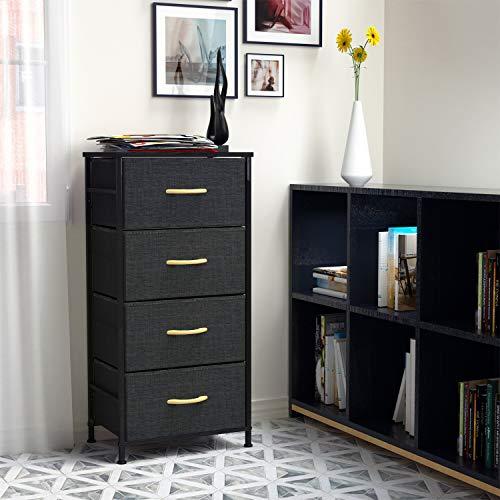 ROMOON 4 Drawer Fabric Dresser Storage Tower, Organizer Unit for Bedroom, Closet, Entryway, Hallway, Nursery Room - Dark Indigo