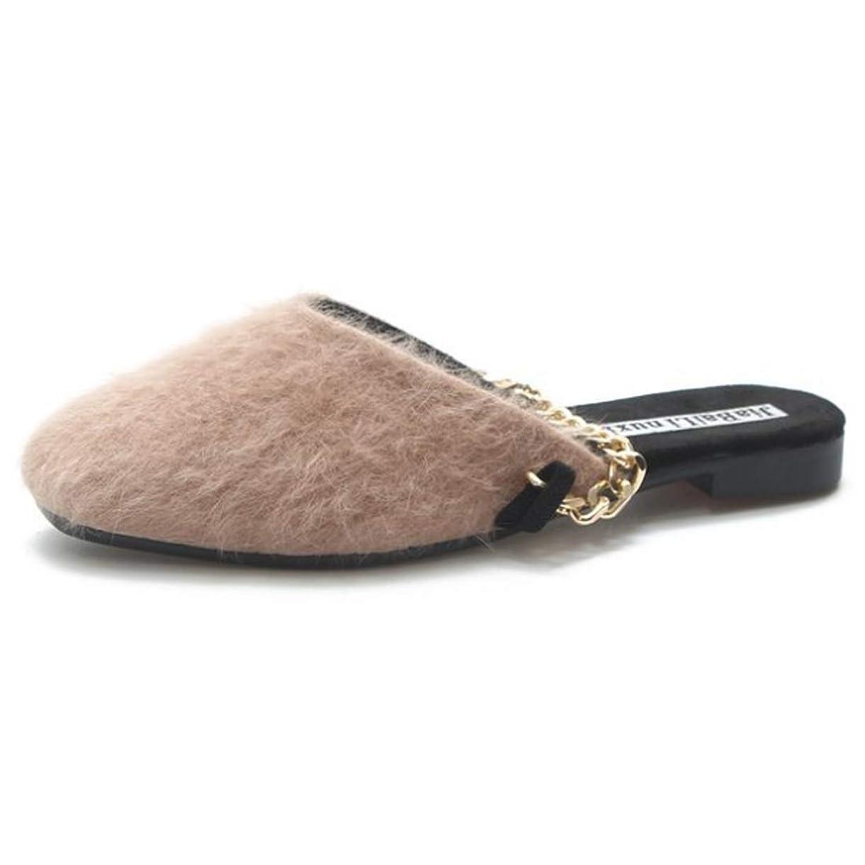 不明瞭フェードアウトバドミントン[Aiweijia] 女性の室内スリッパ秋の冬のファッション女性の の毛皮の靴の金属チェーン怠惰な靴フラット女性の靴