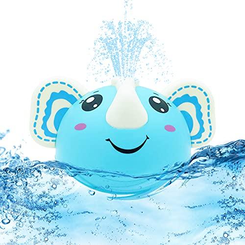 Yisscen Elefante Giochi Bagnetto, Bambini Giocattoli da Bagno 13x10x8.3cm Giocattolo a d'Acqua con Spruzzo d'Acqua Automatico Bubble Giocattoli da Bagno, per Vasca da bagno, piscina, blu