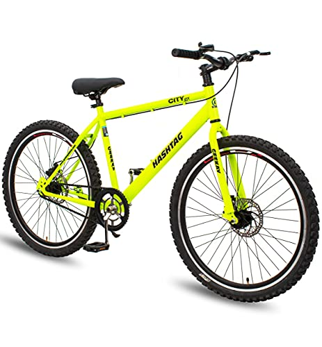 Geekay Hashtag 26 t Single Speed Steel Mountain Bicycle 26 Inch wheel | Non gear cycle for adults | 18 Inch Frame Ideal for 5 feet to 5.6 feet height Road Mtb bike| No Mudguard No Bell No Water Bottle | 85 % Fitted Bike | Neon Green