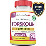 ORGANIC Forskolin Turmeric BioPerine 1200MG Pure 100% Maximum Strength Keto Diet Vegan Supplement Pills. Burn Fat The Healthy Way. Supports Hunger Craving, Extract Standardized At 20%, For Men & Women