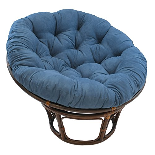 Blazing Needles Solid Microsuede Papasan Chair Cushion, 44' x 6' x 44', Indigo