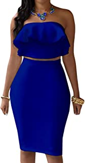 Eiffel Women`s Off Shoulder Ruffle Crop Top Pencil Skirt Dress Two-Piece Set