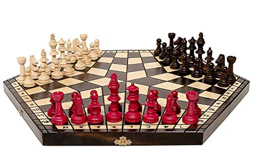 3 Trois Joueurs Set Déchecs - LARGE - RÈGLES INCLUS