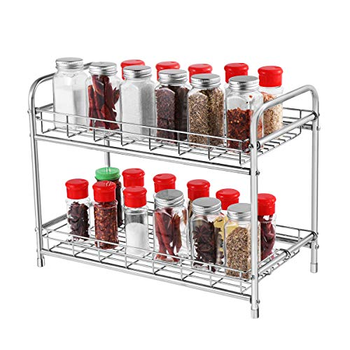 BESTonZON 2-Tier Gewürzregal Küchenarbeitsplatte Speicherorganisator Regalhalter für Gläser Flasche