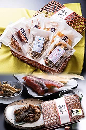 父の日 おつまみ 7種 竹かご のどぐろ 珍味 おつまみセット 小袋 人気 詰め合わせ 【通常便】 えいひれ スルメ 海鮮 手土産 プレゼント ギフト 越前宝や