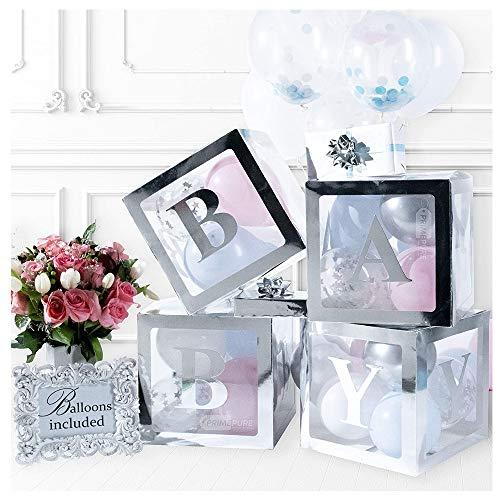 SUNSHINETEK - Cajas de 4 Piezas para Baby Shower, Transparentes, para decoración de Fiestas, Cajas de Globos Que Incluyen Letras de Baby para decoración Multiusos de Baby Shower (Plateado)