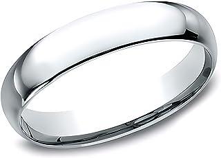 Sponsored Ad - Eros Jewelry Wedding Ring, 14K White Gold Wedding Band for Men, Light Comfort Fit 4 mm Men's Wedding Band