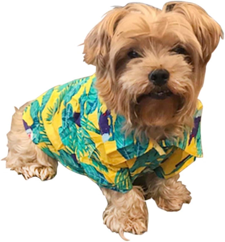 LUCKSTAR Pet TShirt Dog Clothing Hawaiian Breeze Dog Apparel Sundress T Shirt Pet Clothing, Puppy Clothes, Summer Hawaiian Styles Shirts, colorful Beachwear Dog Shirts (L, Yellow)