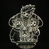 Lámpara de Illusión 3D Lámpara de noche de LED Naruto Kakashi Sasuke Sakura Manga japonesa Anime Amistad Lámpara con sensor de cómics Lámpara para niños