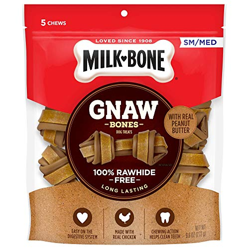 Milk-Bone Gnaw Bones Rawhide Free Chew Treats for Dogs, Chicken, 5 Small/Medium Knotted Bones