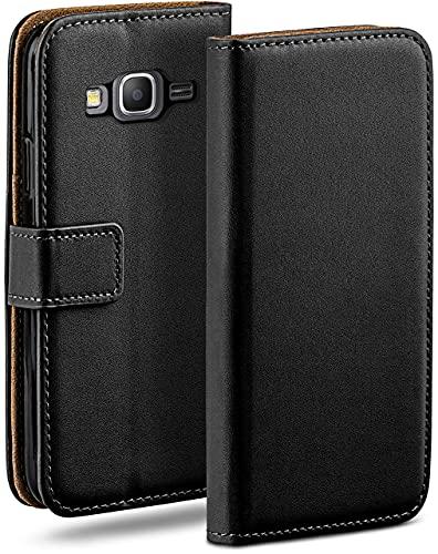 MoEx Cover a Libretto Compatibile con Samsung Galaxy Grand Prime | Fessura Carta + Soldi, Supporto, Nero