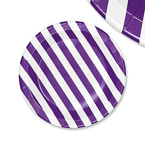 EinsSein 48x Pappteller Papierteller Stripes 23cm weiß-lila Papiergeschirr Pappgeschirr Bunte Papierteller Wegwerfteller Becher Strohhalme Servietten