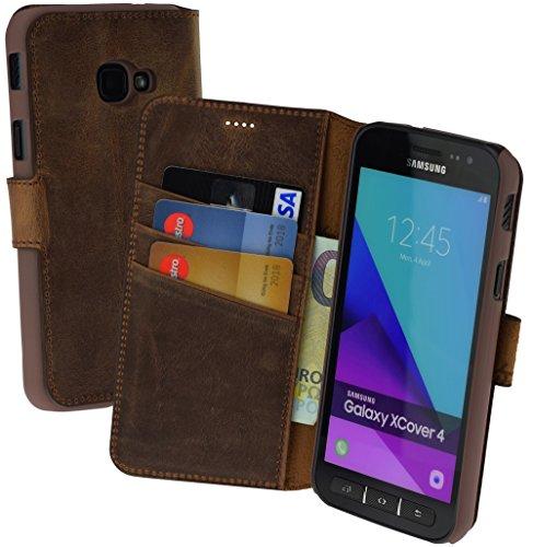 Suncase Book-Style (Slim-Fit) Ledertasche Leder Tasche Schutzhülle Hülle Hülle (mit Standfunktion & Kartenfach) kompatibel für Samsung Galaxy Xcover 4 in antik Coffee