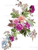 Vinilo decorativo para muebles de madera, diseño vintage con flores abstractas y flores, tamaño A4 - 20 x 38 cm