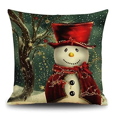 Gotd Christmas Snowman Reindeer Elk Pillow Case 18 x 18 Cushion Cover Home Decor Design Throw Pillow Cover Throw Pillow Case (Gift B)