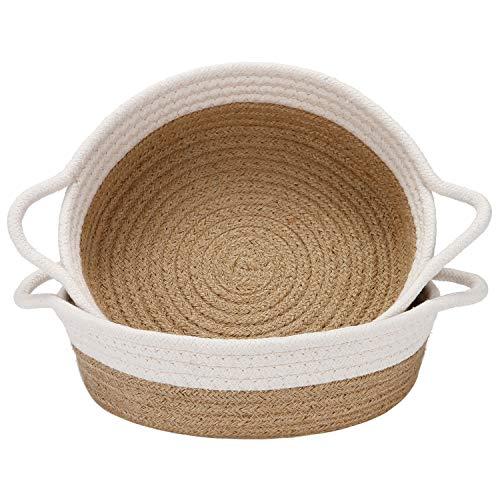 Sea Team - Paquete de 2 cestas de cuerda de algodón, cesta de almacenamiento tejida pequeña de 10 x 3 pulgadas, bandeja de tela, cuenco, plato abierto redondo para frutas, joyas, llaves, kits costura