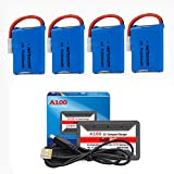3.7V 200mAh Li-Po Battery for RC Drone Battery 4 Pack with HOT RC A100 6-in-1 Battery Charger