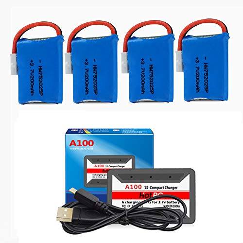 3.7V 200mAh Li-Po Battery for Syma X4 X11 X13 RC Drone Battery 4 Pack with HOT RC A100 6 in 1 Charger
