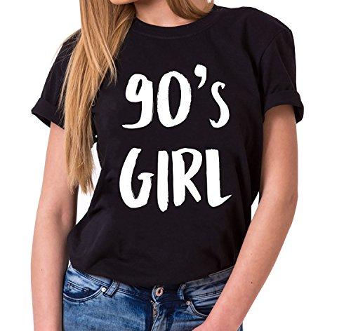 90´s Girl Trendiges Damen T-Shirt Girlie Kurzarm Baumwolle mit Druck, Farbe:Schwarz;Größe:L