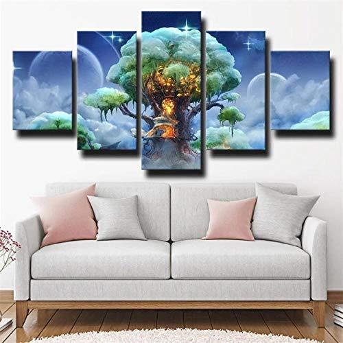 IJNHY Cuadro Árbol Verde Claro 5 Piezas De Arte De Pared XXL Impresiones En Lienzo 5 Piezas Cuadro Moderno para El Arte De La Pared del Hogar 150×80Cm HD Impreso Mural Enmarcado