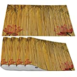 Moslion Bamboo Placemats,Asia Beauftil Bamboo Leaves Bloom and Pink Lotus Flower Place Mats for Dining Table/Kitchen Table,Waterproof Heat-Resistant Washable Indoor Outdoor Dinner Table Mats,Set of 4