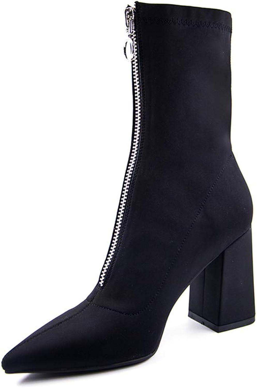 NAFTY Damenschuhe Stiefel Herbst Lycra Frauen Stiefel spitz zehe quadratische Ferse Schuhe Frau Stiefeletten  | Verpackungsvielfalt  | Sonderkauf  | Sonderangebot