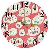 EZIOLY - Orologio da parete a forma di cuore rosa con scritta 'Sweet Love', silenzioso, al quarzo, funzionamento a batteria, per casa, cucina, ufficio, scuola