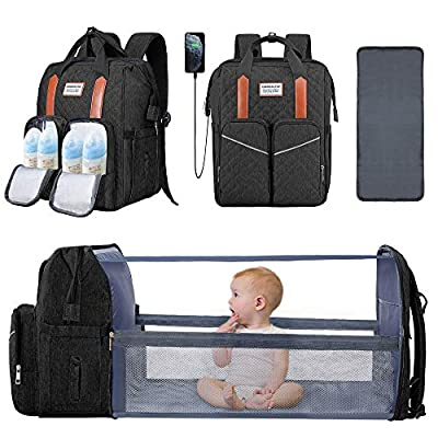 3 in 1 Baby Diaper Bag with Changing Station Backpack Foldable Diaper Bag with Bassinet Black Portable Baby Bag Travel Changing Bed Large Capacity Stroller Straps, Insulated Pockets, Gift for Mom