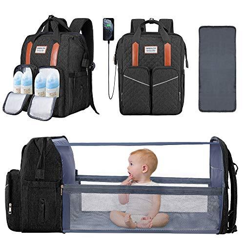 Bolsa de pañales con cambiador de pañales, bolsa de pañales y moisés, portátil, cambiador, cama de viaje, plegable, color negro, gran capacidad