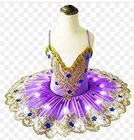 LEDライト白鳥の湖バレエチュチュコスチューム女の子バレリーナドレスキッズバレエドレスダンスウェアステージパーティーコスチューム,紫色,150CM