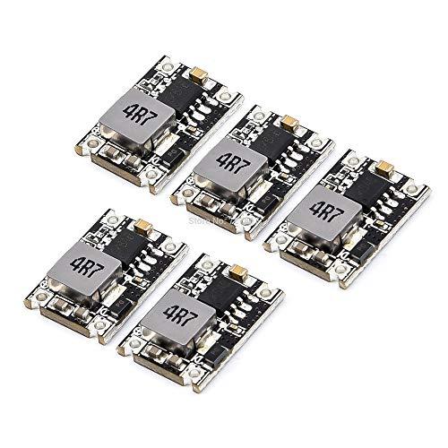 OUYBO 3/5 / 8PCS tamaño ultra pequeño DC-DC 5V 3A BEC módulo de alimentación Buck bajada Módulo Regulador 24V 12V 9V a 5V de salida Fijo Accesorios de batería de piezas RC (Color : 5pcs)