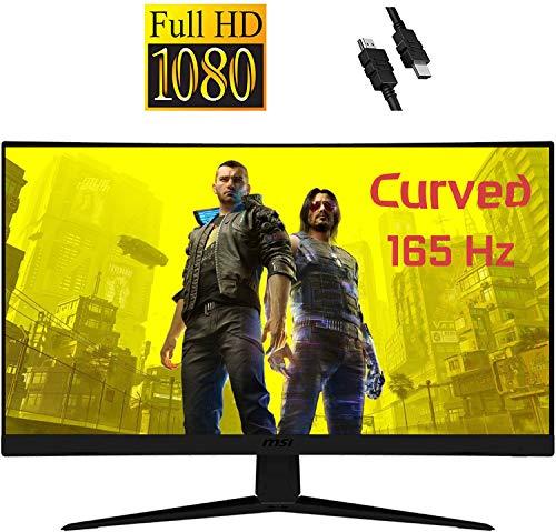 "2020 Premium MSI Optix 27"" Curved Gaming Monitor: Full HD (1920 x 1080) 165Hz 1ms, Anti-Glare Super Narrow Bezel, VESA Compatible, Tilting, AMD FreeSync, 3000:1 + iCarp HDMI Cable"